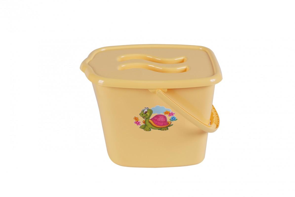 MALTEX - Vědro plastové s víčkem Želva - žluté