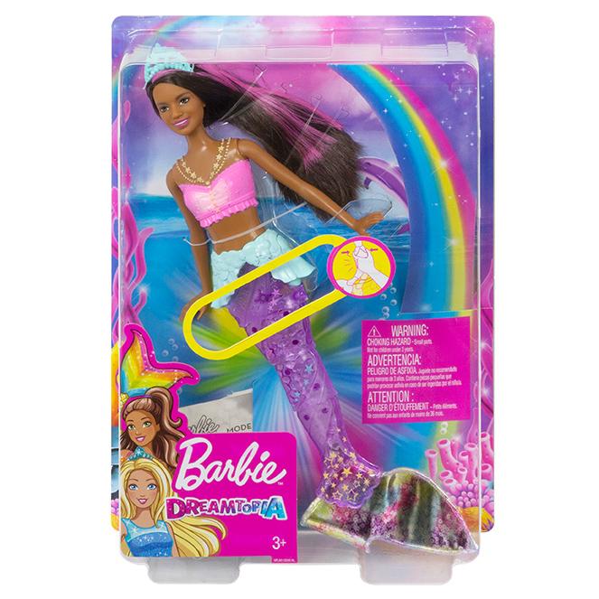 MATTEL - Barbie Svítící Mořská Panna S Pohyblivým Ocasem Černoška