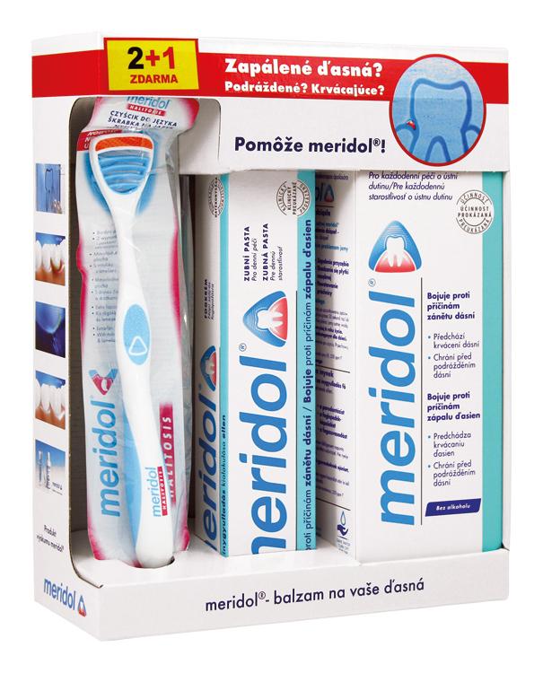 MERIDOL - Systém na zanícené, krvácející dásně (zubní pasta 75ml, ústní voda 400ml, zubní kartáček)
