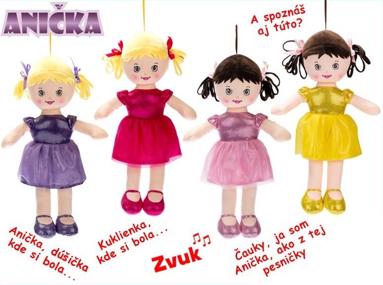 MIKRO TRADING - Zpívající látková panenka Anička 32cm - žlutá