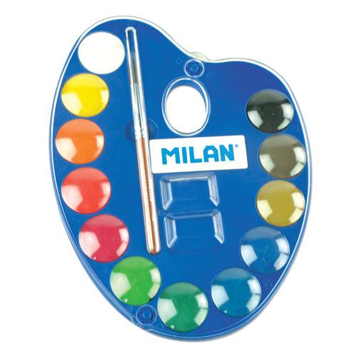 MILAN - Akvarelové barvy 12ks + štětec