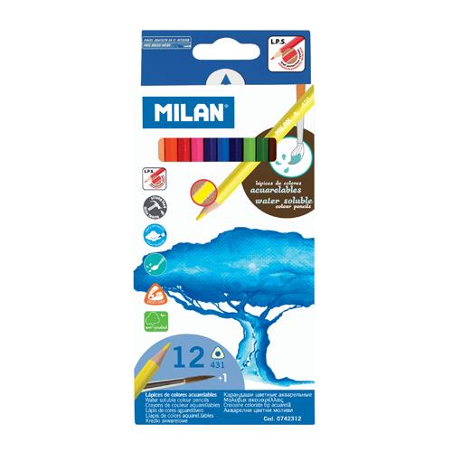 MILAN - Pastelky akvarelové 12ks se štětcem