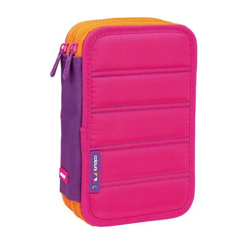 MILAN - Penál Colours Pink plný - 2 patrový, růžový