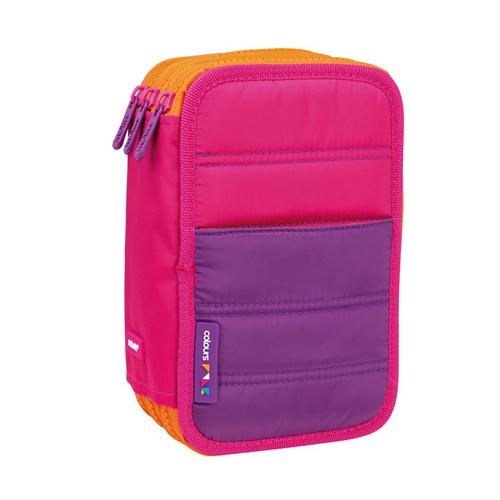 MILAN - Penál Colours Pink plný - 3 patrový růžový