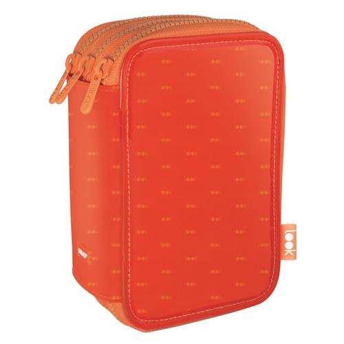 MILAN - Penál look plný - 3 patrový oranžový