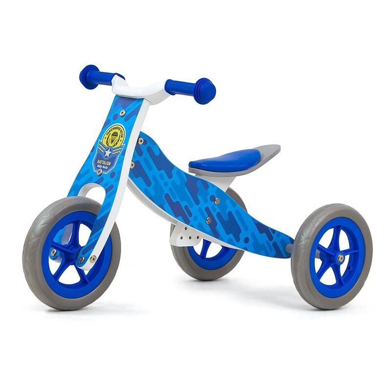 MILLY MALLY - Dětské multifunkční odrážedlo 2v1 Look Blue Army