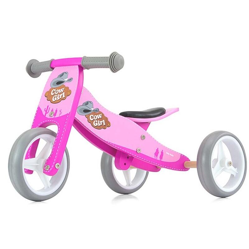 MILLY MALLY - Dětské multifunkční odrážedlo kolo 2v1 JAKE pink Cowgirl