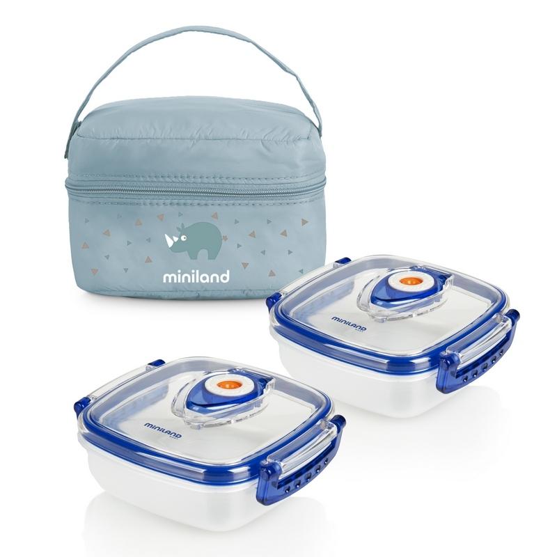 MINILAND - Termoizolační pouzdro + 2 hermetické misky na jídlo Blue