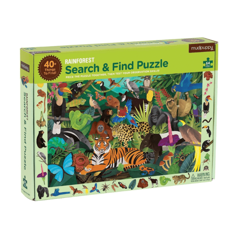 MUDPUPPY - Hledej a najdi puzzle Deštný prales 64ks