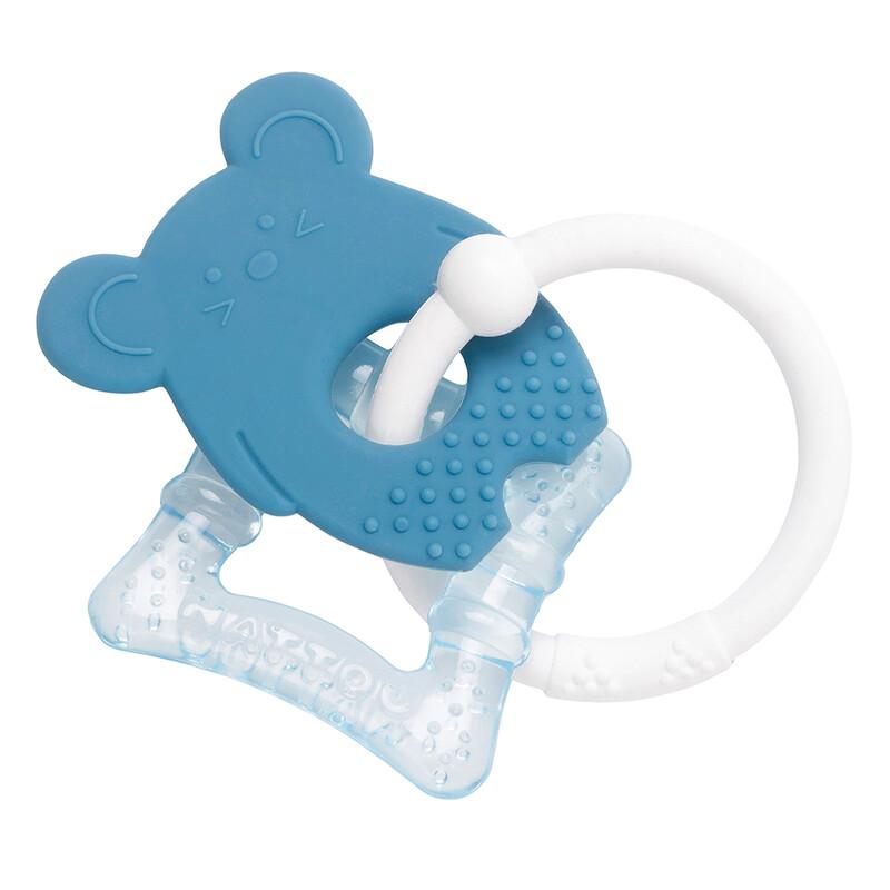 NATTOU - Kousátko silikonové s chladící částí bez BPA modrá myška