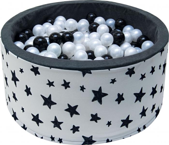 NELLYS - Bazén pro děti 90x40cm - tmavé hvězdy s balónky, Ce19