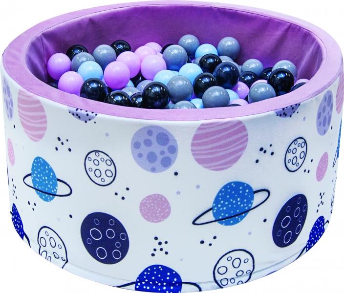 NELLYS - Bazén pro děti 90x40cm - planety, růžový s balónky, Ce19