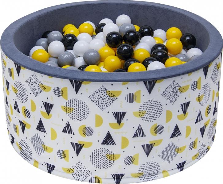 NELLYS - Bazén pro děti 90x40cm - tvary, šedý s balónky, Ce19