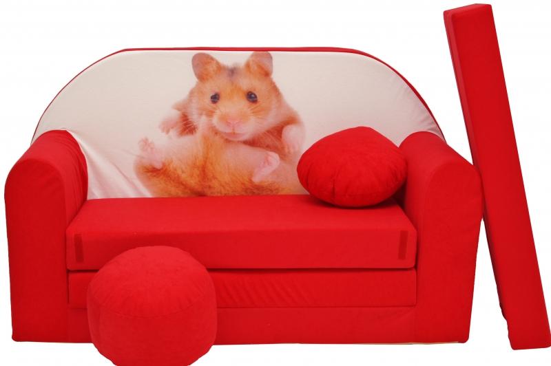 NELLYS - Rozkládací dětská pohovka červená - křeček