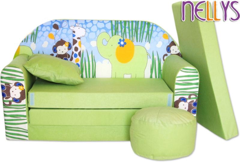 NELLYS - Rozkládací dětská pohovka 06R - Slon zelený