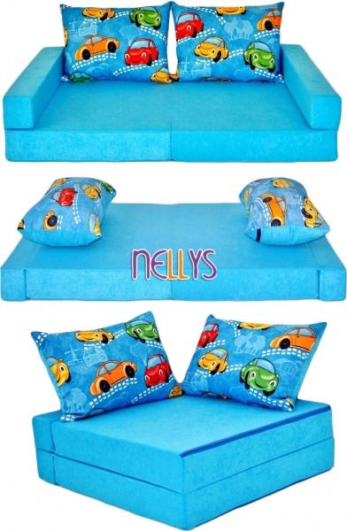NELLYS - Rozkladací dětská pohovka 3 v 1 - P01 - Auta v modré