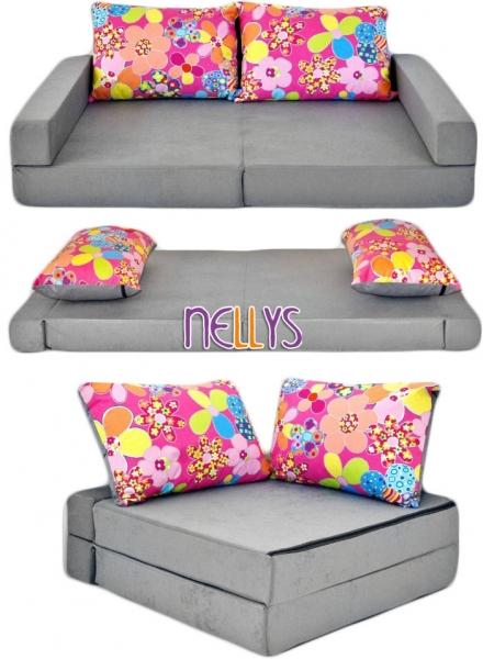 NELLYS - Rozkladací dětská pohovka 3 v 1 - P05 - Květinky v šedé