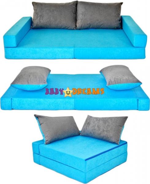 NELLYS - Rozkladací dětská pohovka 3 v 1 - P12 - Modrá/šedá