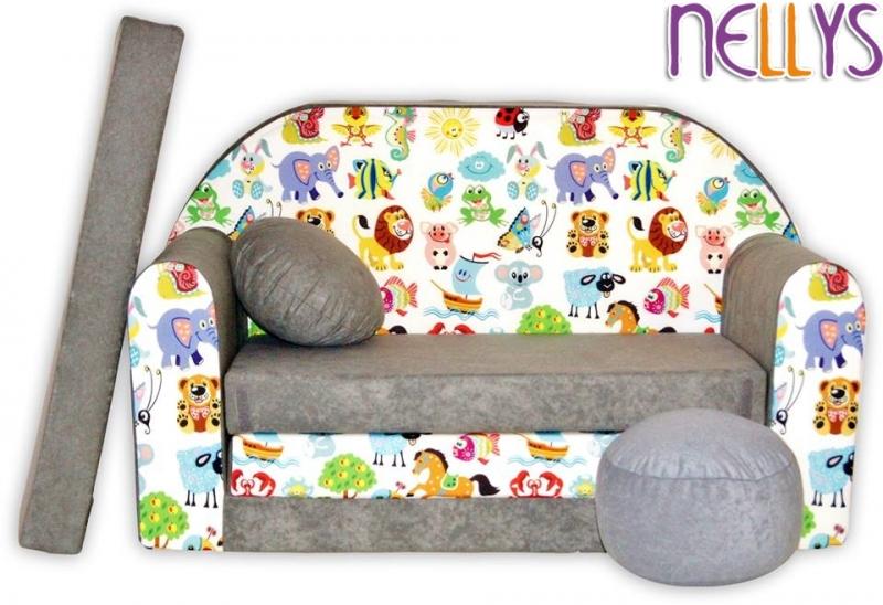 NELLYS - Rozkládací dětská pohovka 53R - Malá zvířátka safari v šedé
