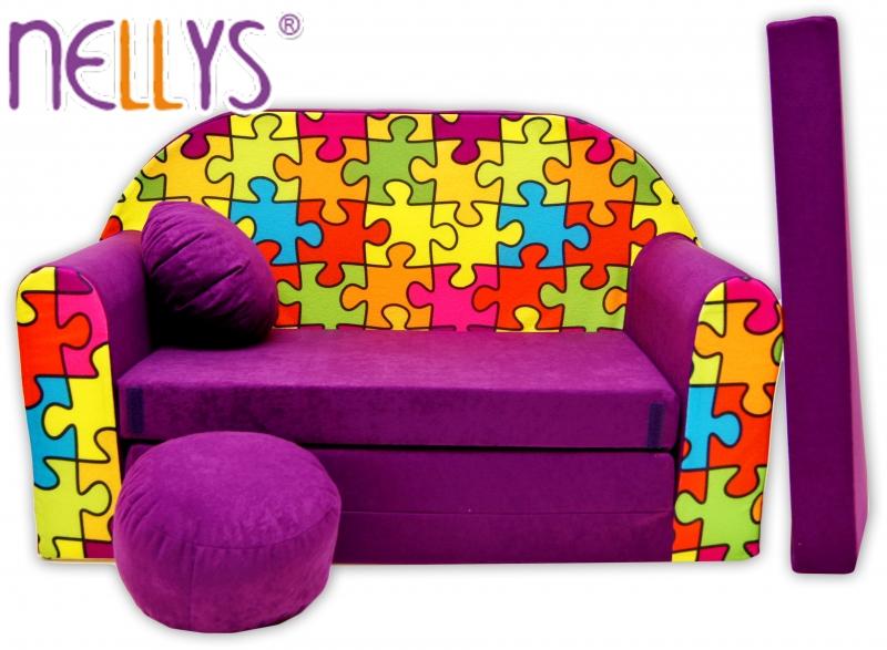 NELLYS - Rozkládací dětská pohovka 68R - Puzzle fialové