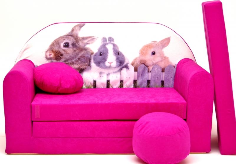 NELLYS - Rozkládací dětská pohovka ® 80R - Zajíčci v růžové