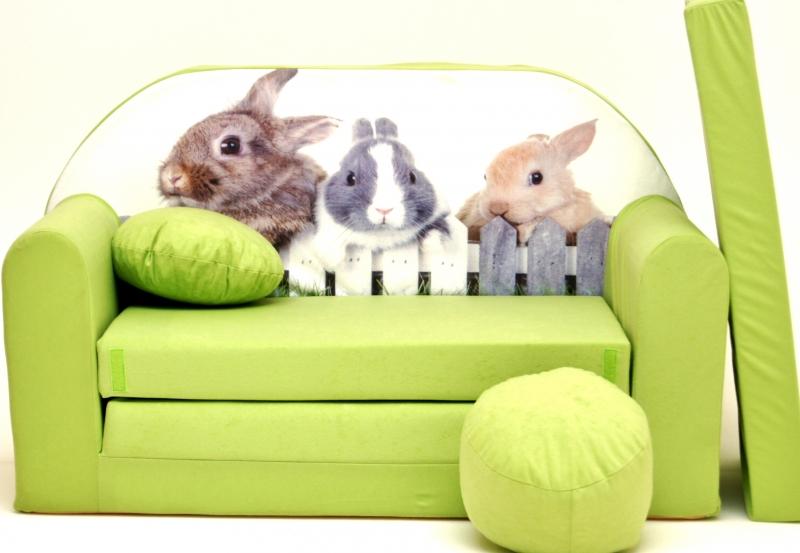 NELLYS - Rozkládací dětská pohovka 81R - Zajíčci v zelené