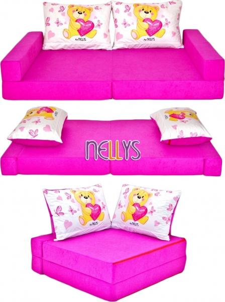 NELLYS - Rozkladací dětská pohovka de luxe - Míša růžový