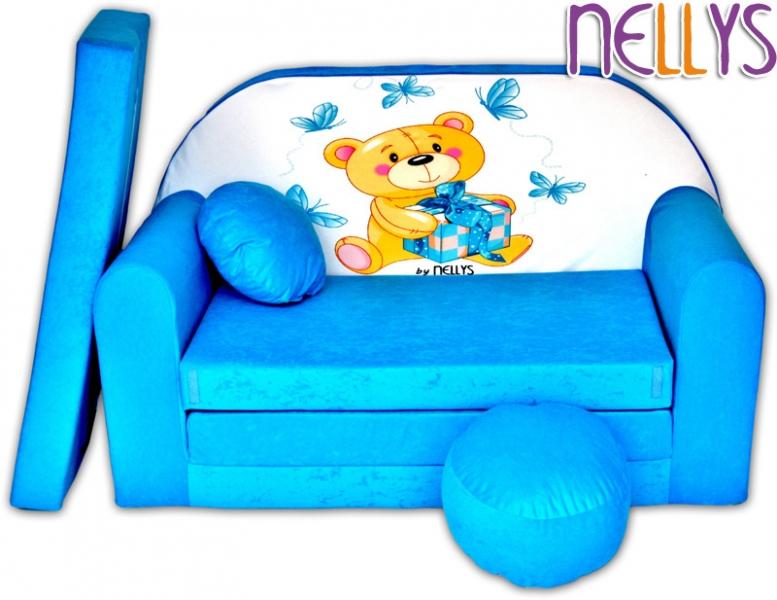 NELLYS - Rozkládací dětská pohovka Míša modrý