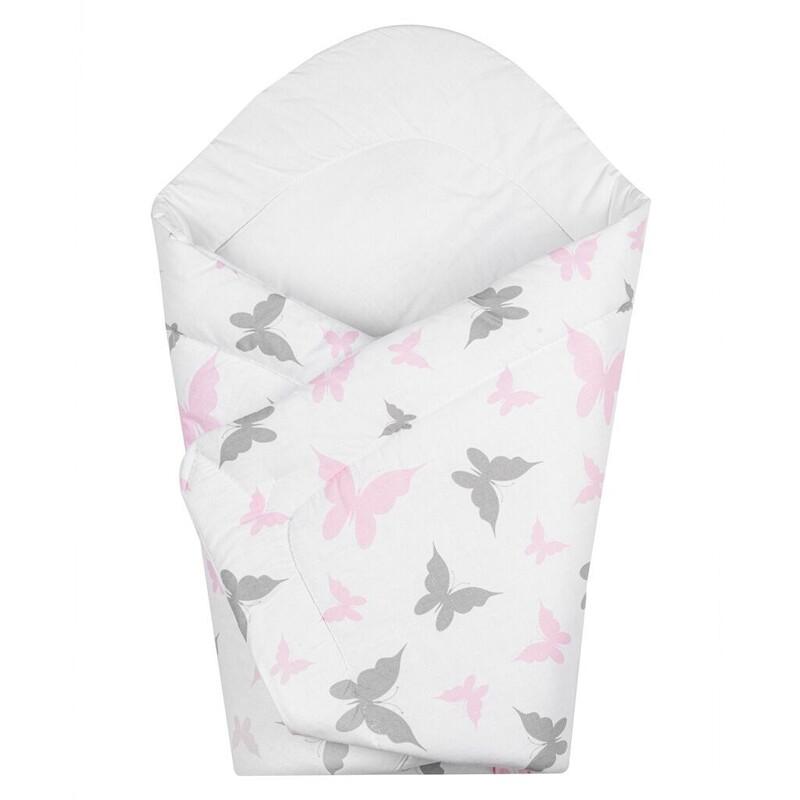 NEW BABY - Dětská zavinovačka bílá motýli