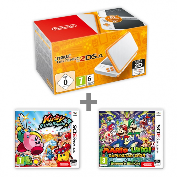 NINTENDO - New N2DS XL White &Orange + KBR + M &L:Supersaga