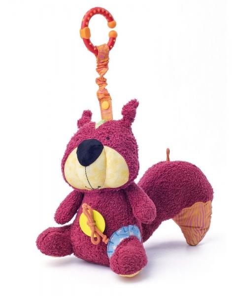NINY - Závěsná plyšová hračka s chrastítkem - Veverka Apia