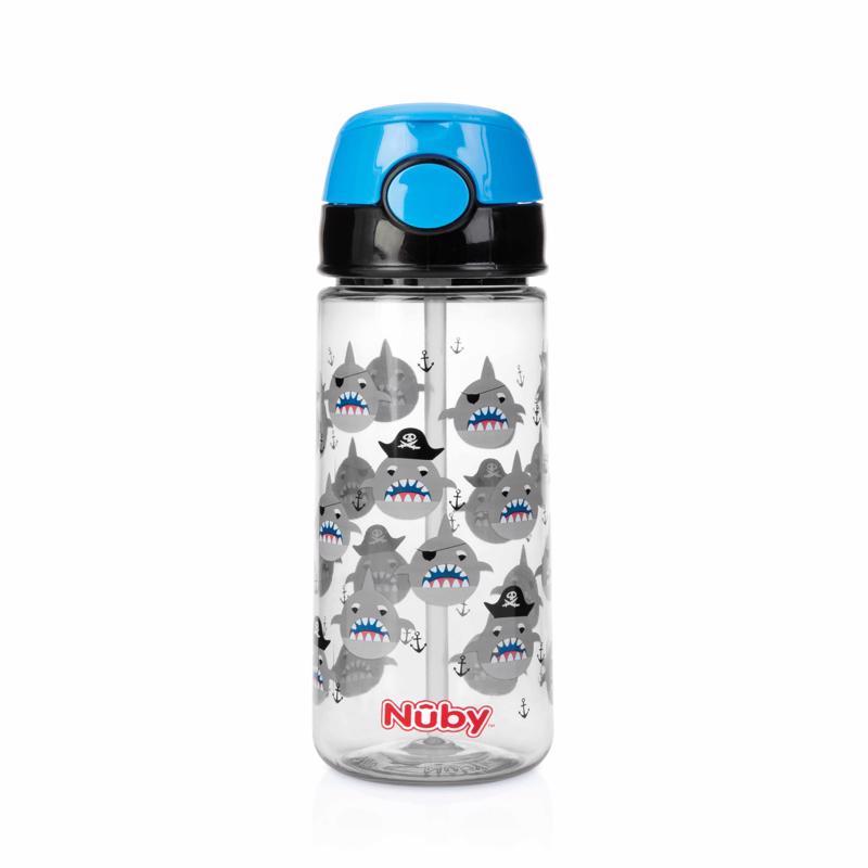NUBY - Láhev sportovní netekoucí s brčkem 530ml, černá, 3+