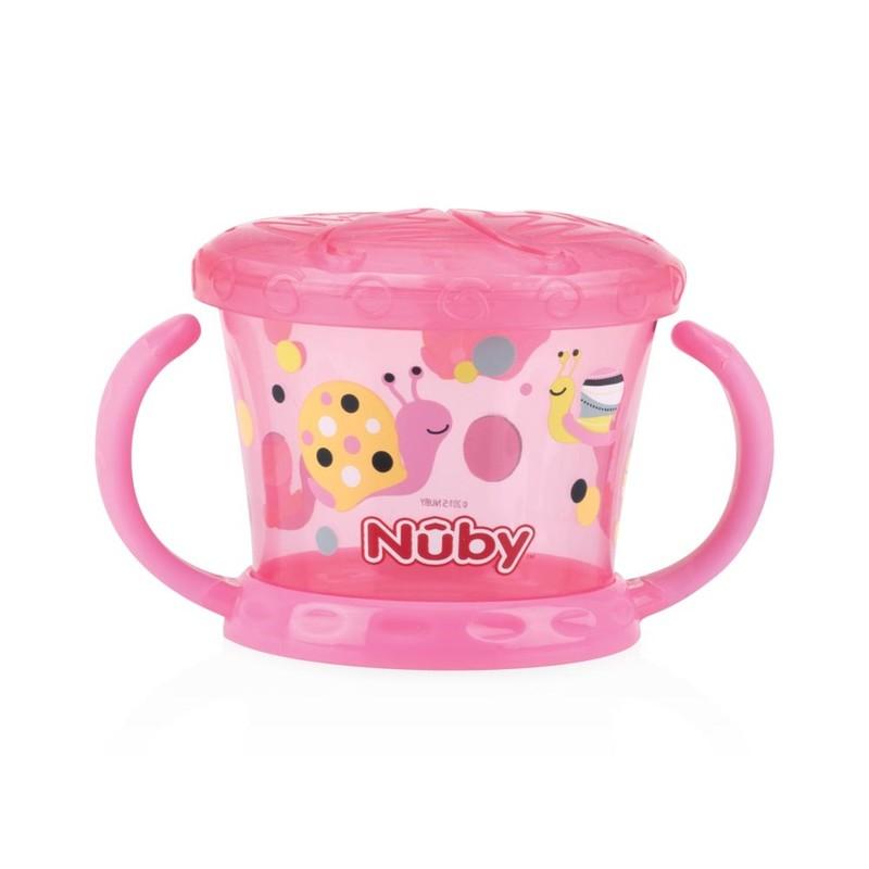 NUBY - Miska s oušky na svačinu 12m + růžová