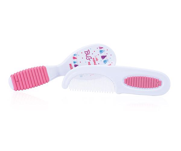 NUBY - Sada kartáč + hřebínek na vlasy - růžová