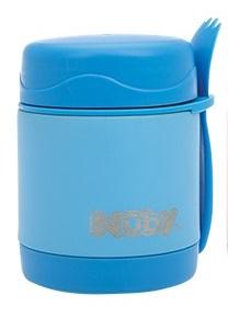 NUBY - Termoska nerezová s lyžička/vidličkou 325ml 24m + modrá