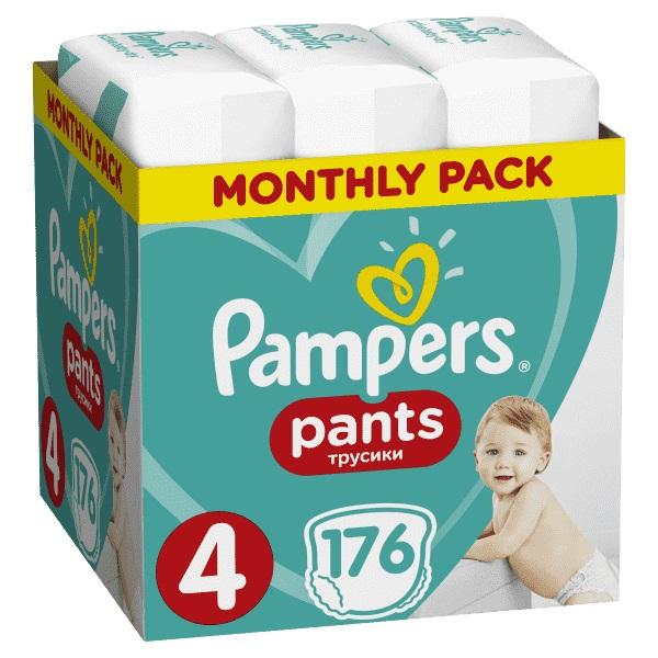 PAMPERS - Měsíční zásoba plenkových kalhotek ActivePants 4 MAXI 9-15kg 176ks