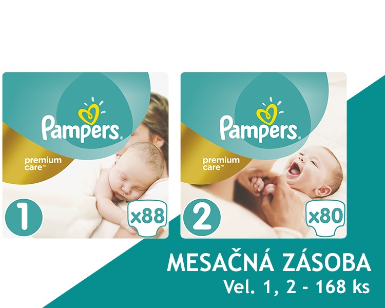 PAMPERS - Měsíční zásoba plenek Premium Care 1 NEWBORN + Premium Care 2 MINI 168 ks