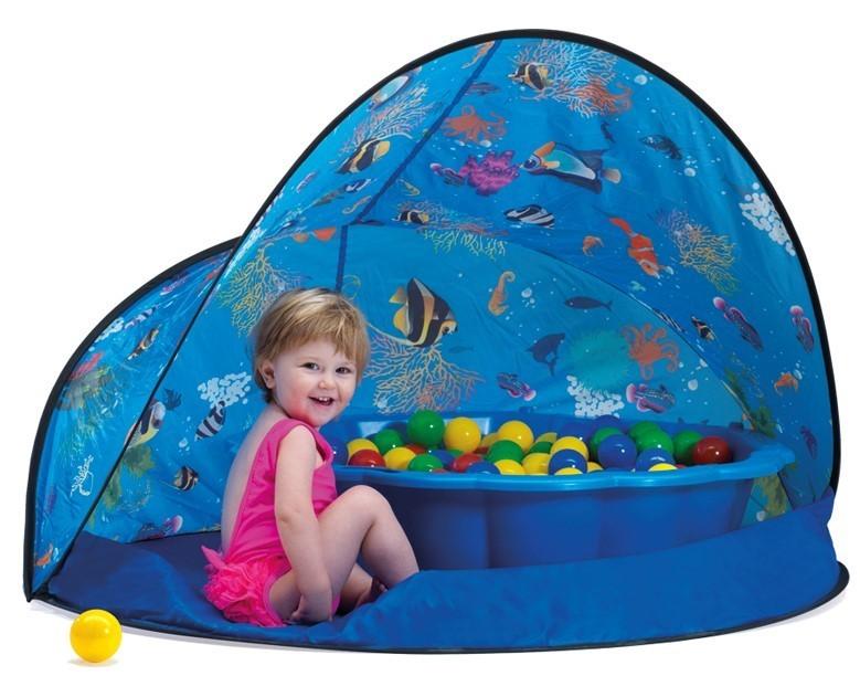 PARADISO - Paradiso Sun & Fun box Modrý stan s pískovištěm - bazénem mušle a míčky T02836