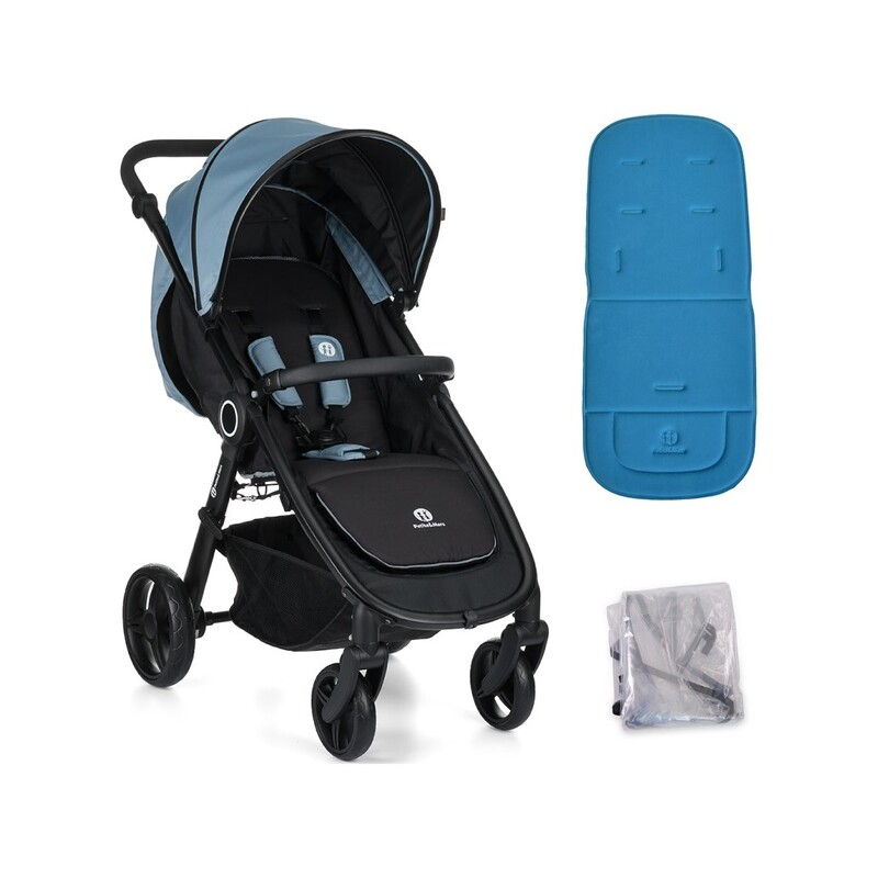 PETITE&MARS - Kočárek Street Steel Blue s vložkou a pláštěnkou
