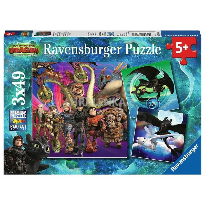 RAVENSBURGER - Jak vycvičit draka 3 3x49 dílků