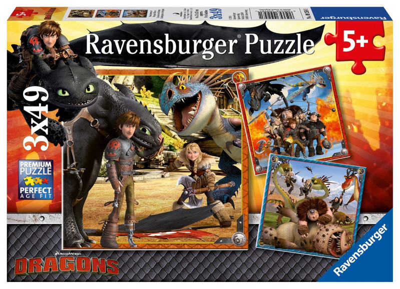 RAVENSBURGER - Jak vycvičit draka 3x49 dílků