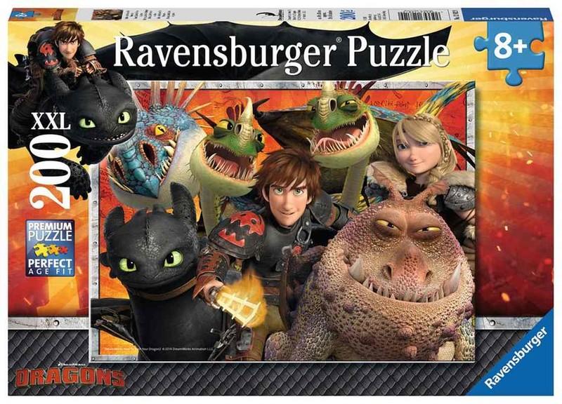 RAVENSBURGER - Jak vycvičit draka: Škyťák, Astrid a draci 200 dílků