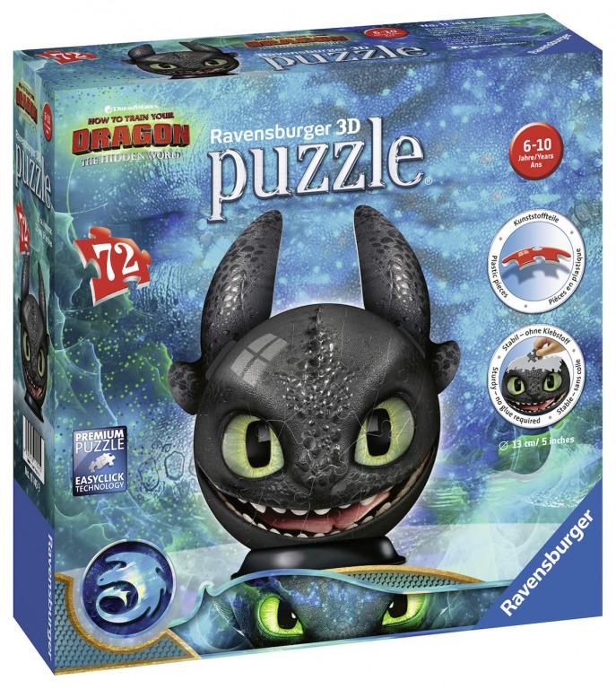 RAVENSBURGER - Puzzle-Ball Jak vycvičit draka 3: Bezzubka 72 dílků