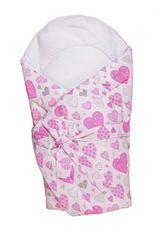 ANTONY FASHION - Zavinovačka s výztuží (růžová) - Srdíčka, velikost: 70x70 (cm)