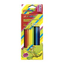 EASY - Šestihranné pastelky  12 ks s ořezávátkem nelámavé