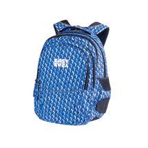 EASY - Batoh školní tříkomorový modrý vzor, profilovaná záda, 26 l