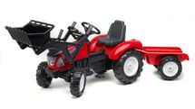 FALK - Šlapací traktor 3021 Garden MSTER s nakladačem a vlečkou červený