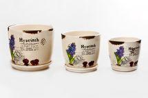 MAKRO - Sada 3 květináčů s podmiskou