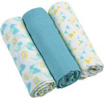 BABYONO - Pleny mušelínové - Super soft 3ks - Modré