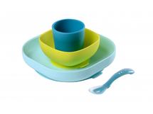 BEABA - Jídelní sada silikonová 4-dílná Blue